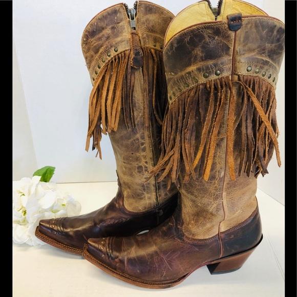 23145502373 Tony Lama Leather Heeled Fringe Western Boots